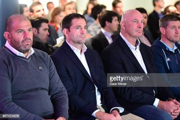 La Rochelle coach Patrice Collazo Clermont coach Franck Azema Montpellier coach Vern Cotter during the European Rugby Champions Cup and Challenge Cup...