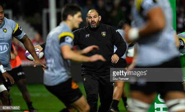 La Rochelle head coach Patrice Collazo looks on before the European Rugby Challenge Cup match between Gloucester Rugby and Stade Rochelais at...
