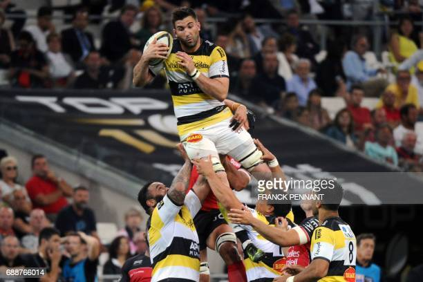 La Rochelle's French lock Romain Sazy catches the ball during the French Top 14 rugby union match between RC Toulon and La Rochelle on May 26 2017 at...