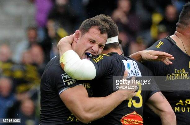 La Rochelle's Jeremie Maurouard and Pierre Aguillon react during the French Top 14 rugby union match between La Rochelle and Montpellier on april 30...