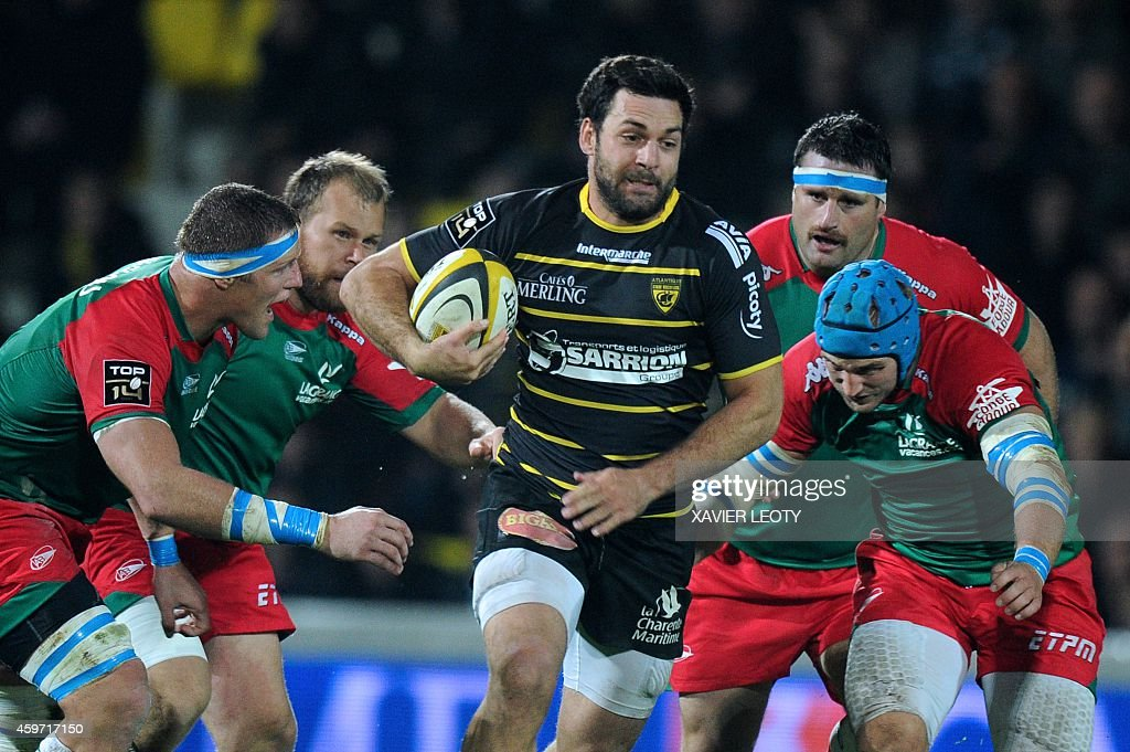 La Rochelle's Kevin Gourdon runs with the ball during the French Top 14 rugby union match La Rochelle vs Bayonne on November 29 2014 at the Marcel...