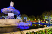 La Rotonde fountain at night