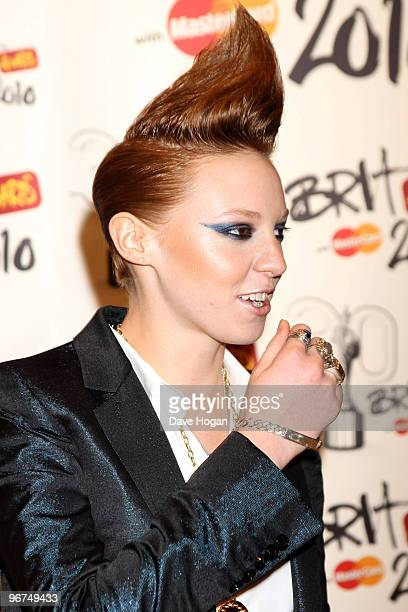 La Roux arrives at The Brit Awards 2010 held at Earls Court on February 16 2010 in London England