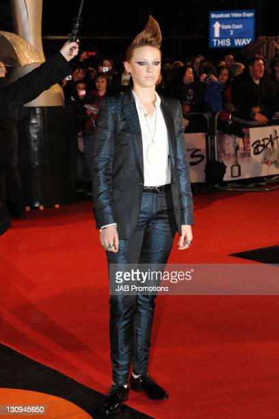 La Roux arrives for The Brit Awards 2010 at Earls Court on February 16 2010 in London England