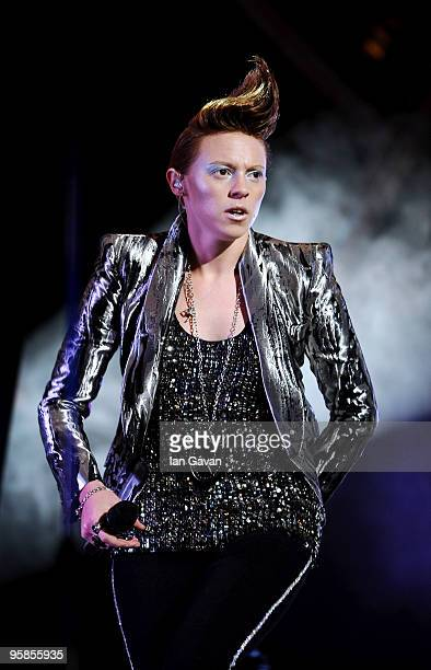La Roux performs live at the Brit Awards 2010 Nominations Party at the 02 Arena on January 18 2010 in London England