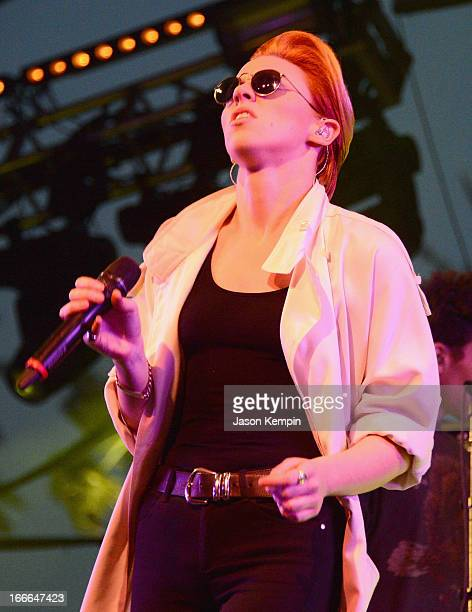 La Roux performs onstage during day 3 of the 2013 Coachella Valley Music And Arts Festival at The Empire Polo Club on April 14 2013 in Indio...