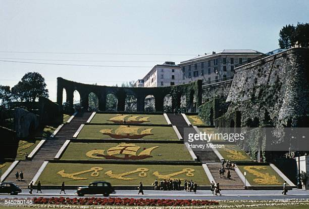 La Scalinata delle tre Caravelle sloped garden showing anchors and ships from the fleet of Christopher Columbus Genoa Italy circa 1960