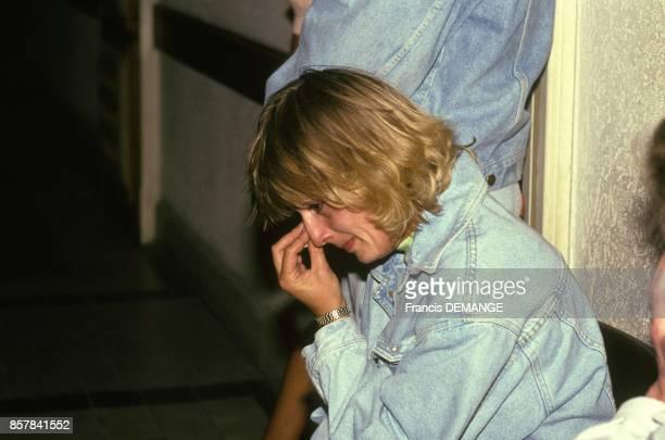 La soeur de Francis Heaulme en pleurs au tribunal lors du proces de son frere pour le meurtre de l'adolescente Laurence Guillaume le 10 aout 1993 a...