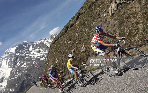 US Levi Leipheimer and French Christophe Moreau ride during the 6th stage between Briancon and La Toussuire of the 58th Dauphine Libere cycling race...