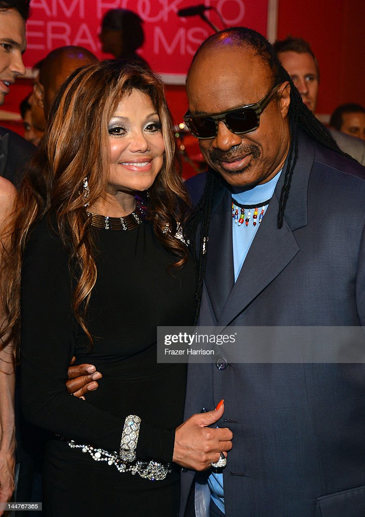 La Toya Jackson (L) and singer <a gi-track='captionPersonalityLinkClicked' href=/galleries/search?phrase=Stevie+Wonder&family=editorial&specificpeople=171911 ng-click='$event.stopPropagation()'>Stevie Wonder</a> attend the 19th Annual Race To Erase MS held at the Hyatt Regency Century Plaza on May 18, 2012 in Century City, California.