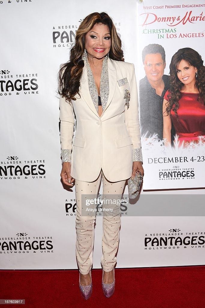 La Toya Jackson arrives at the 'Donny & Marie Christmas In Los Angeles' - Opening Night Performance at the Pantages Theatre on December 4, 2012 in Hollywood, California.