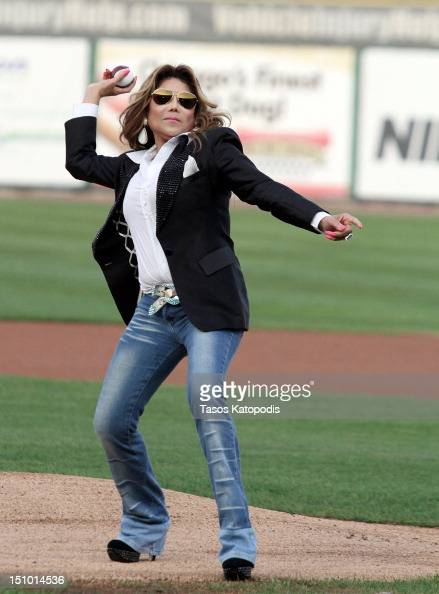 La Toya Jackson attends the St Paul Saints Vs The Gary SouthShore RailCats baseball game at US Steel Yard on August 30 2012 in Gary Indiana