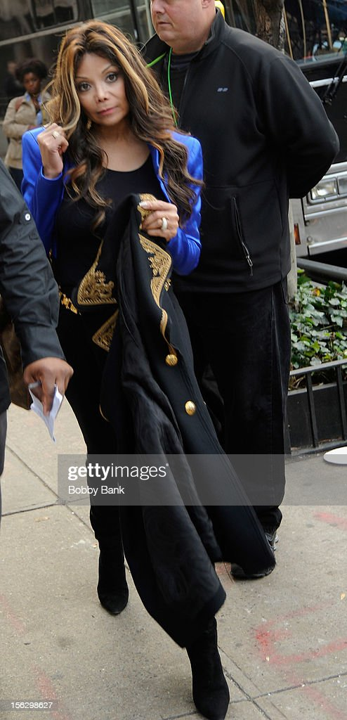 La Toya Jackson filming on location for 'Celebrity Apprentice All Stars' on November 12, 2012 in New York City.