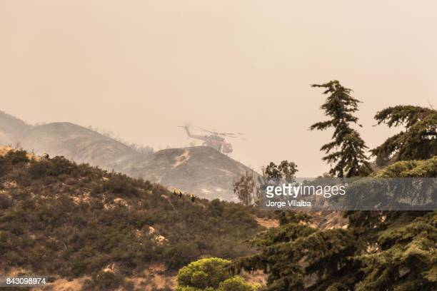 La Tuna wildfire in Los Angeles, CA burning mountains
