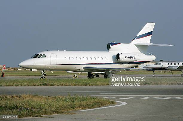 The Falcon 900 EX luxury jet with the tail marking FHBOL owned by Vincent Bollore a French billionaire businessman is pictured in Malta International...