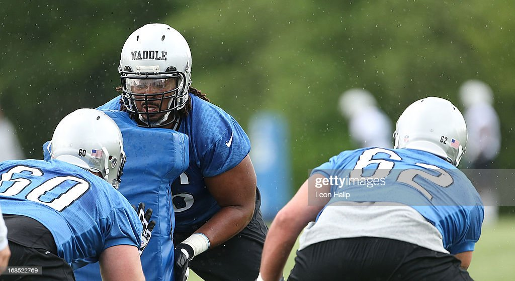 LaAdrian Waddle #65 of the Detroit Lions goes through the afternoon drills during the first day of Rookie Camp on May 10, 2013 in Allen Park, Michigan.