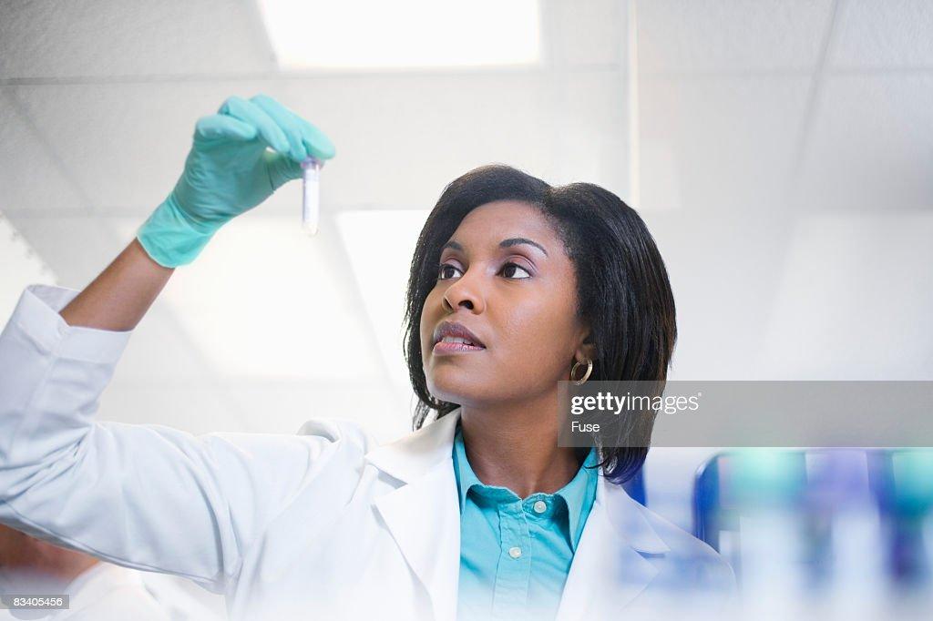 Lab Technician Holding Test Tube