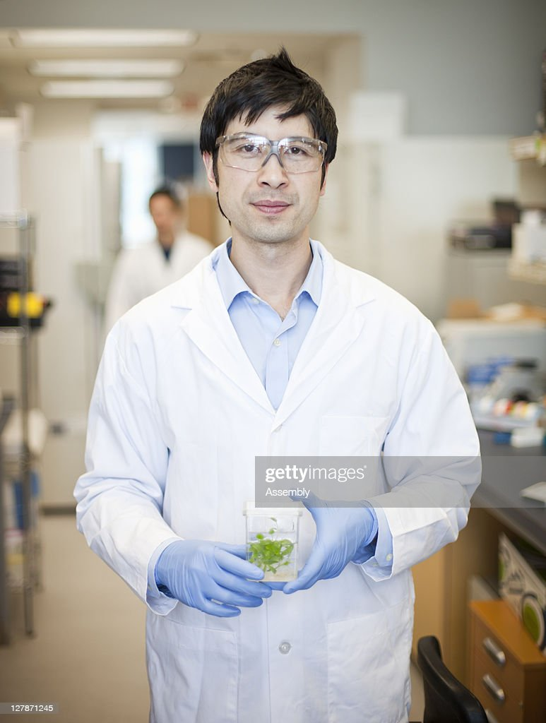 Lab technician holds vial with plant specimen : Stock Photo