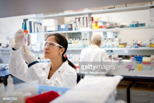 lab technician looking at test tube : Stock Photo