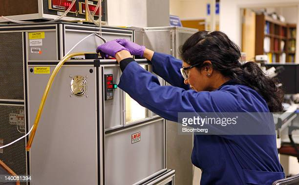 Lab technician Rajul Shah monitors biofuels testing at the Patuxent River Naval Air Station in Patuxent River Maryland US on Monday Feb 13 2012 The...