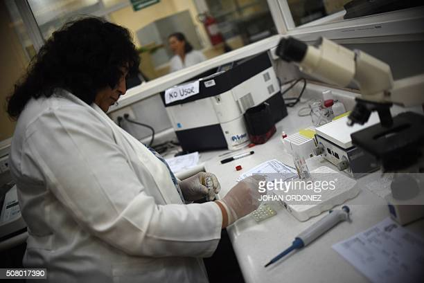 Lab technicians analyze blood of pregnant women at the maternity of the Guatemalan Social Security Institute in Guatemala City on February 2 2016...