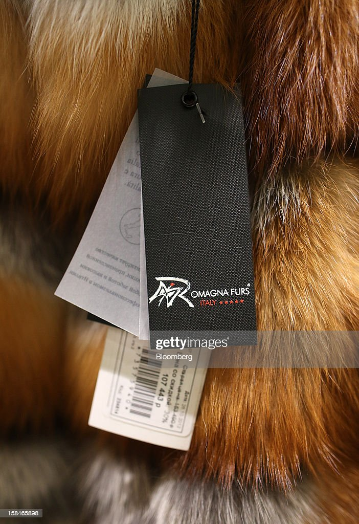 A label for Italian brand Omagna Furs hangs from a Sable fur at the World of Fur and Leather store in Moscow, Russia, on Sunday, Dec. 16, 2012. Russia's government should introduce a tax on luxury consumption in first half of 2013, President Vladimir Putin said in state-of-the-nation address in Moscow. Photographer: Andrey Rudakov/Bloomberg via Getty Images
