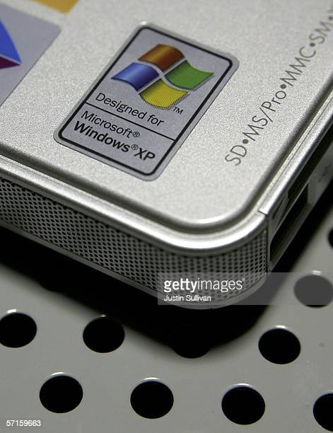 A label for the Microsoft Windows XP operating system is seen on a laptop at a CompUSA store March 22 2006 in San Francisco California Microsoft the...