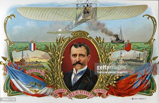 Label illustration from a box of cigars commemorates the 1909 flight of French aviator and inventor Louis Bleriot from Calais to Dover the first...