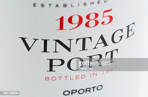 Label on a bottle of vintage port