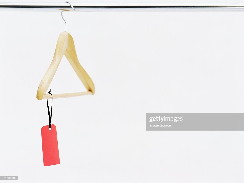 Label on a coathanger : Stockfoto