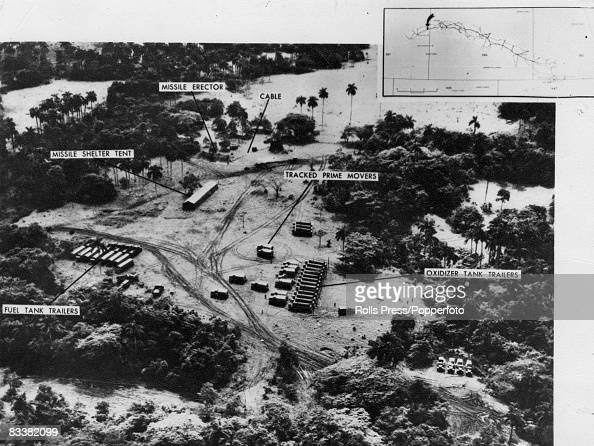 A labelled aerial photograph showing trailers trucks and medium range missile equipment at a base in Cuba during the Cuban Missile Crisis 25th...