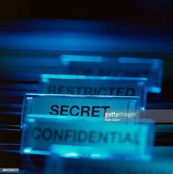 Labels in filing cabinet representing different levels of security