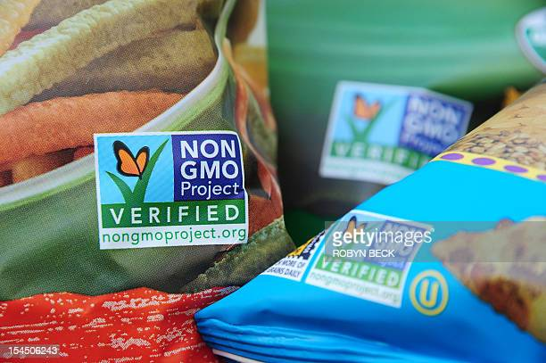Labels on bags of snack foods indicate they are nonGMO food products in Los Angeles California October 19 2012 California could become the first US...