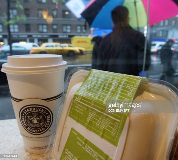 STORY 'USHEALTHFOODRESTAURANTSOBESITY' Labels on the packaging of a Starbucks sandwich shows its nutritional value on April 28 2008 in New York New...