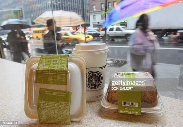 STORY 'USHEALTHFOODRESTAURANTSOBESITY' Labels on the packaging of Starbucks sandwiches show their nutritional value on April 28 2008 in New York New...