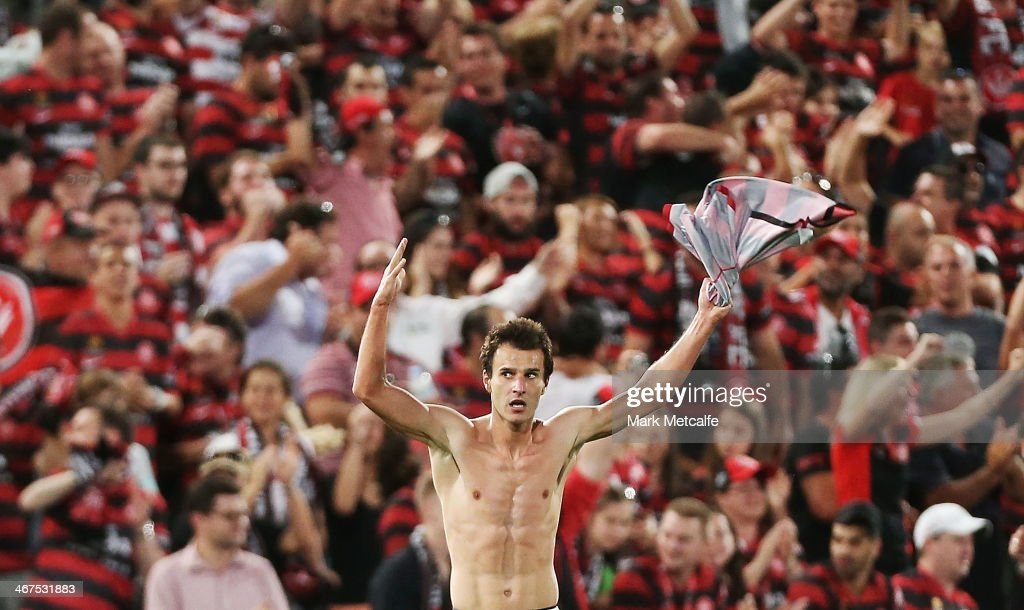 Labinot Haliti of the Wanderers celebrates scoring a goal during the round 18 ALeague match between the Western Sydney Wanderers and Brisbane Roar at...