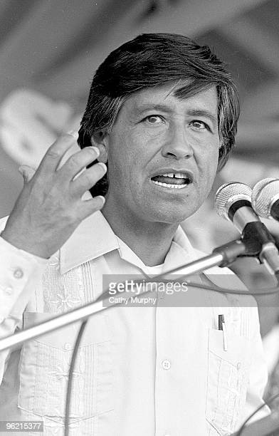 Labor activist and United Farm Workers cofounder Cesar Chavez speaks at a rally in Coachella California 1977