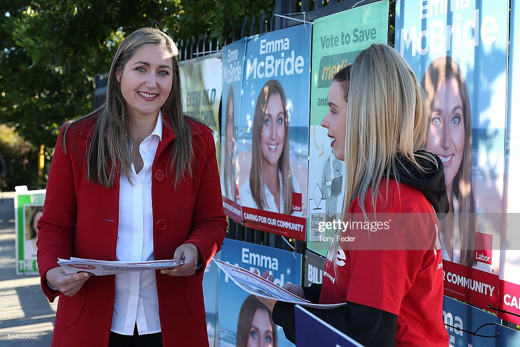 Labor Candidate Emma McBride outside the Woongarrah Public School in the electorate of Dobell on July 2, 2016 in Gosford, Australia. Voters head to the polls today to elect the 45th parliament of Australia.