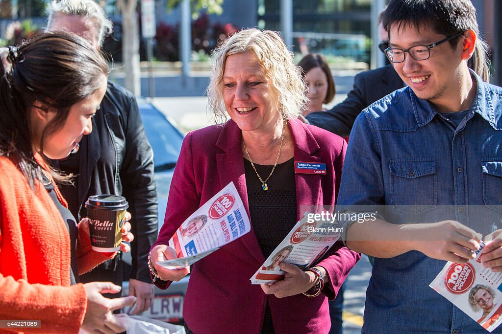 Labor candidate for the seat of Petrie, Jacqui Pederson at a polling booth in North Lakes on July 2, 2016 in Brisbane, Australia. Voters head to the polls today to elect the 45th parliament of Australia.