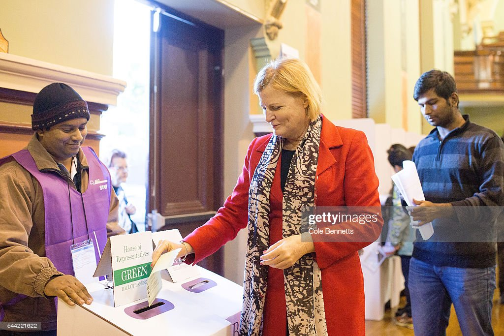 Labor Candidate, Julie Owens MP drops her vote into the ballot box at the Parramatta Town Hall on July 2, 2016 in Parramatta, Australia. Voters head to the polls today to elect the 45th parliament of Australia.