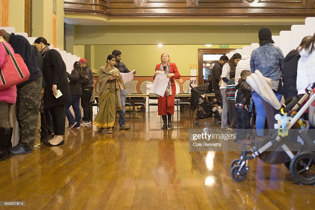 Labor candidate, Julie Owens MP shows some nervousness as she walks from the ballot box ready to cast her vote at the Parramatta Town Hall to vote on July 2, 2016 in Parramatta, Australia. Voters head to the polls today to elect the 45th parliament of Australia.