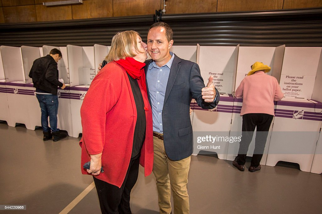 Labor candidate Pat O'Neill with his mother Virginia voting in the electorate of Brisbane on July 2, 2016 in Brisbane, Australia. Voters head to the polls today to elect the 45th parliament of Australia.