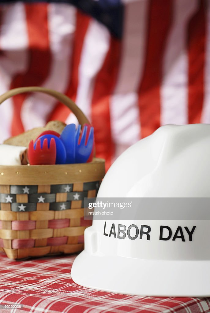 labor day picnic basket with a stars and stripes
