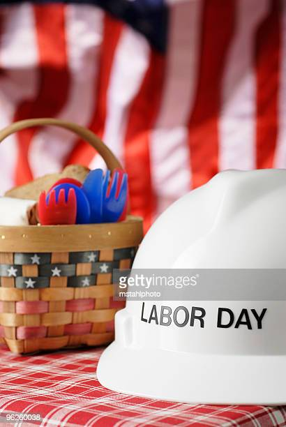 Labor Day picnic basket with a stars and stripes background