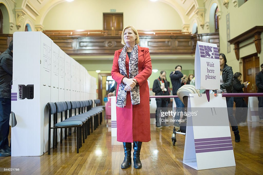 Labor MP, Julie Owens waits to cast her vote at the Parramatta Town Hall to vote on July 2, 2016 in Parramatta, Australia. Voters head to the polls today to elect the 45th parliament of Australia.