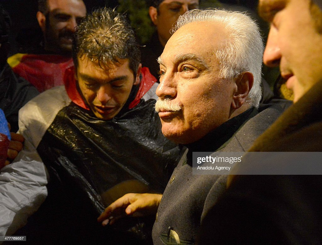 Labor Party leader Dogu Perincek detainee in the Ergenekon coup plot case released from Silivri Prison in Istanbul following the 8th and the 21th...