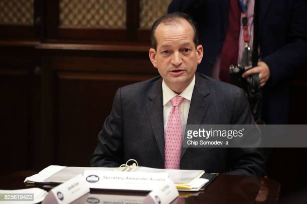Labor Secretary Alex Acosta speaks during a listening session with military spouses in the Roosevelt Room at the White House August 2 2017 in...