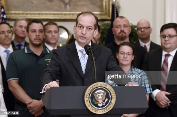 Labor secretary Alexander Acosta delivers remarks at the signing by US President Donald Trump of an executive order that aims to expand...