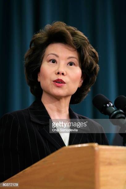 Labor Secretary Elaine Chao speaks during a news conference about the annual Social Security and Medicare Trustees Reports at the Treasury Department...