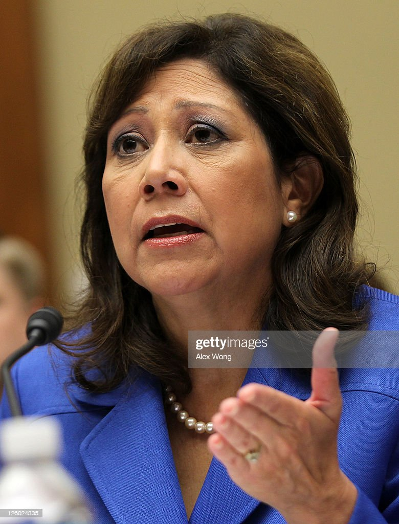 S Labor Secretary Hilda Solis testifies during a hearing before the House Oversight and Government Reform Committee September 22 2011 on Capitol Hill...